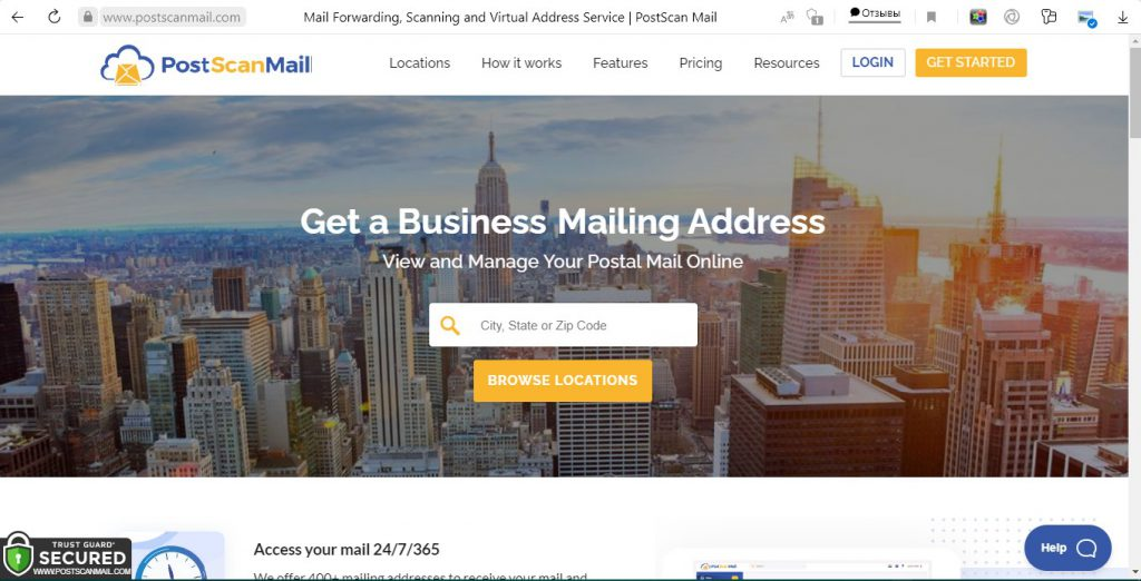 We took a screenshot of postscanmail.com
