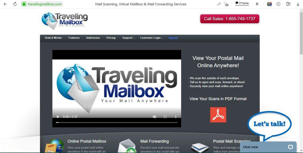 We took a screenshot of travelingmailbox.com