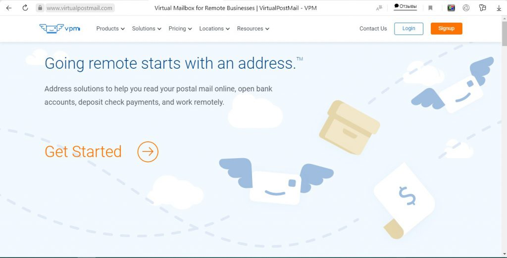 We took a screenshot of virtualpostmail.com